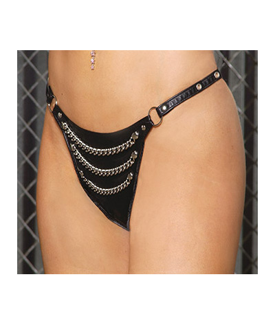 Leather Thong with chains L78006