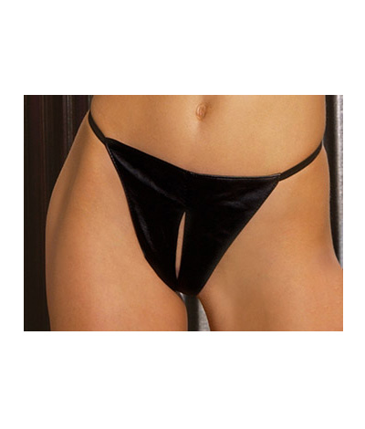 Leather peek a Boo G-string L78008