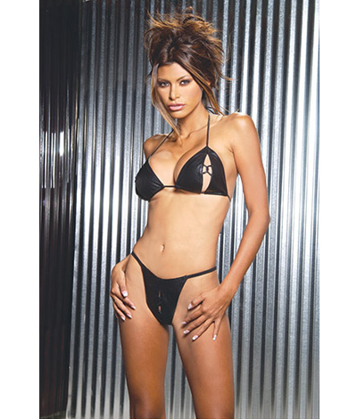 Leather Peek a Boo Bra L18015